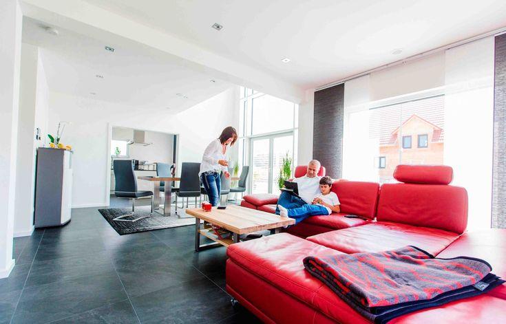 Fertighaus - Wohnideen Wohnzimmer #Haus #Fertighaus #modern #Sofa - kuche wohnzimmer offen modern