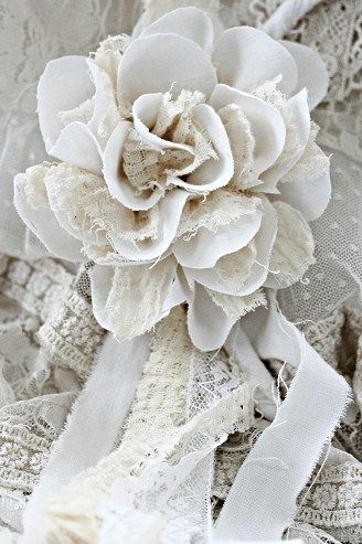 Lace flower...no glitter, just very lovely! <pin by I Share My Pins on Visions in Shades of White>