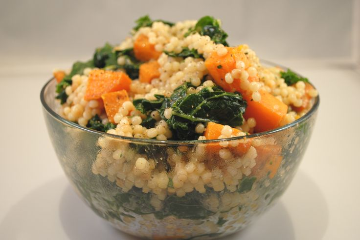 Lemony couscous with sweet potatoes and kale.