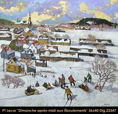 Original oil painting on canvas by Paul Tex Lecor #texlecor #art #artist #canadianartist #quebecartist #originalpainting #oilpainting #landscape #winter #wintersecene #childrenplaying #clouds #balcondart #multiartltee