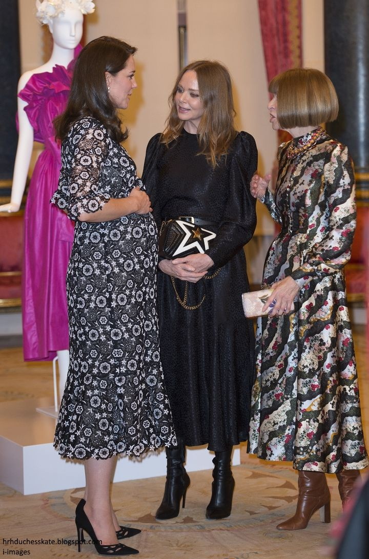 The Duchess of Cambridge and the Countess of Wessex hosted a reception at Buckingham Palace on behalf of the Queen during London Fashion Wee...
