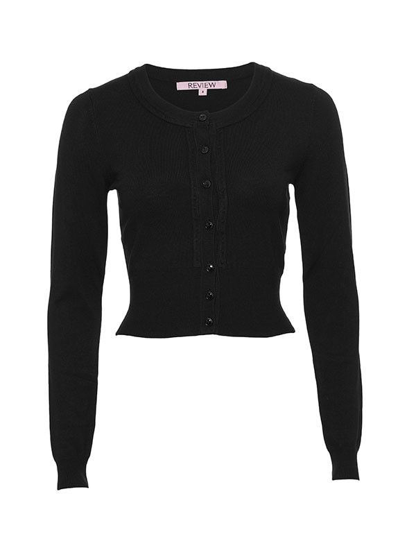 Review - Chessie Long Sleeve Cardigan (Black) - The perfect cardi for any occasion, the Chessie Cardigan is a classic Review style in fresh new colours. It is a slightly cropped length with a wide hemband, cute embossed dot details and buttons dyed to match perfectly. Length: 44cm approx. - 70% Viscose 30% Nylon Hand washable, Do not dry clean.