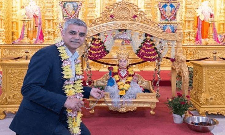 ब्रिटेन: मंदिर में पहुंचे मेयर सादिक खान, वायरल हुईं फोटो