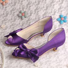 ( 15 couleurs ) personnalisé violet pompes bas talons hauts chaussures de soirée de mariage Peep Toe grands arcs livraison gratuite(China (Mainland))