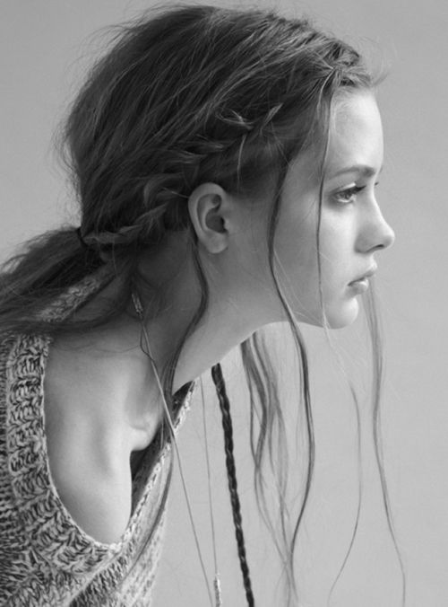 Loose and braided low pony.