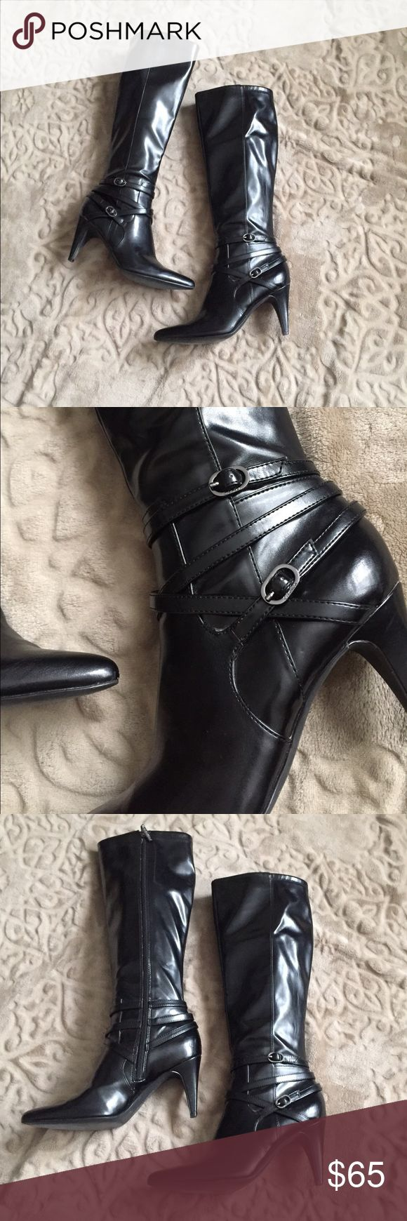 Beautiful Tall Black Boots. Beautiful Tall Black Boots. Very Nice Leather, Not Too Shiny but Not Dull. In Great Condition. One Small Indentation on one Heel, but Not a Scuff, Hardly Noticeable. Super Comfortable. Fashionable but Discreet Enough for the Office with a Nice Skirt. . Calvin Klein Shoes Heeled Boots