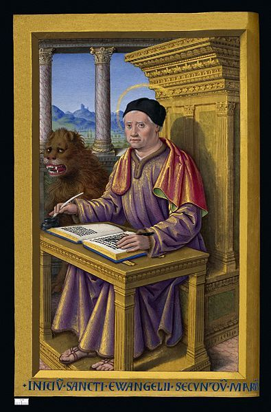 1503-08.Grandes Heures d'Anne de Bretagne.Jean Bourdichon.BNF-Latin 9474.  Mark the Evangelist, miniature from the Grandes Heures of Anne of Brittany, Queen consort of France (1477-1514).