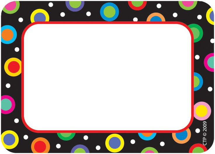 Items By Brand Name | Creative Teaching Press | Teacher Helpers | Name Tags | Dots on Black Name Tags, 36/pkg | B Wise School Supply