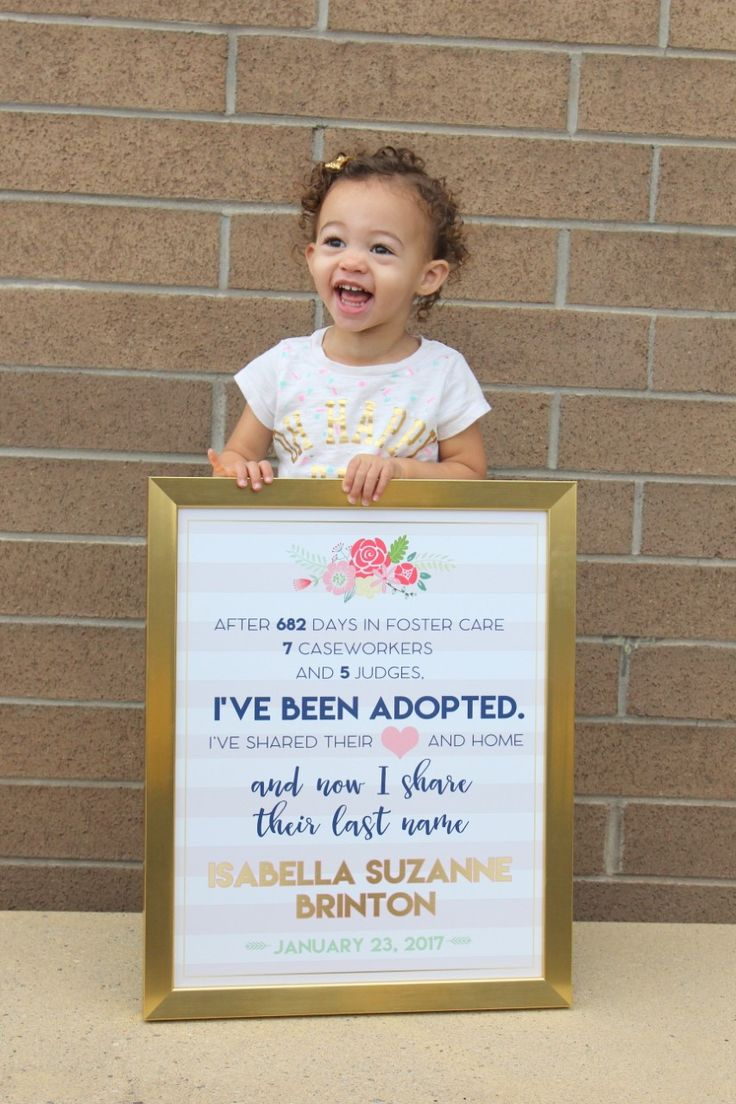 After 682 days in foster care this little cutie is ours forever. My sister in law made this beautiful adoption sign for us.