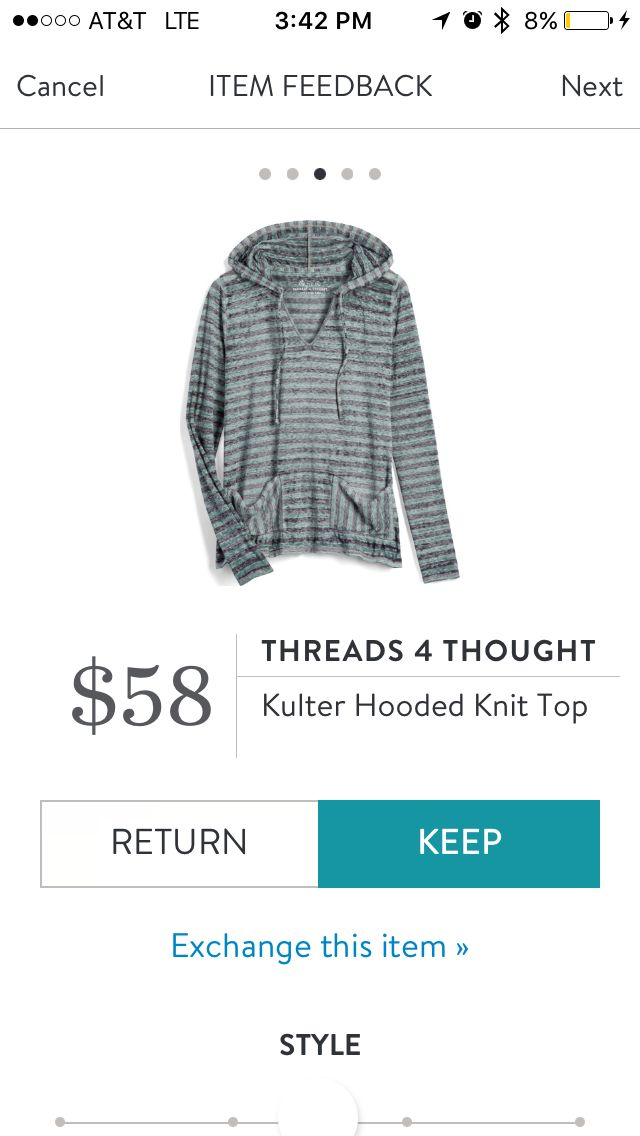Stitch Fix Threads 4 Thought Kulter Hooded Knit Top. I love Stitch Fix! A personalized styling service and it's amazing!! Simply fill out a style profile with sizing and preferences. Then your very own stylist selects 5 pieces to send to you to try out at home. Keep what you love and return what you don't. Only a $20 fee which is also applied to anything you keep. Plus, if you keep all 5 pieces you get 25% off! Free shipping both ways. Schedule your first fix using the link below…