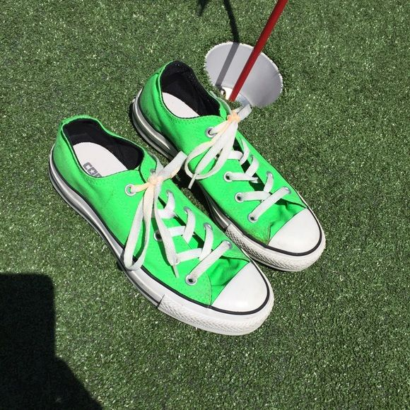 Neon green Converse Worn twice -In great condition. Women's size 6. A must to brighten up any outfit or a neon party!! Converse Shoes Sneakers
