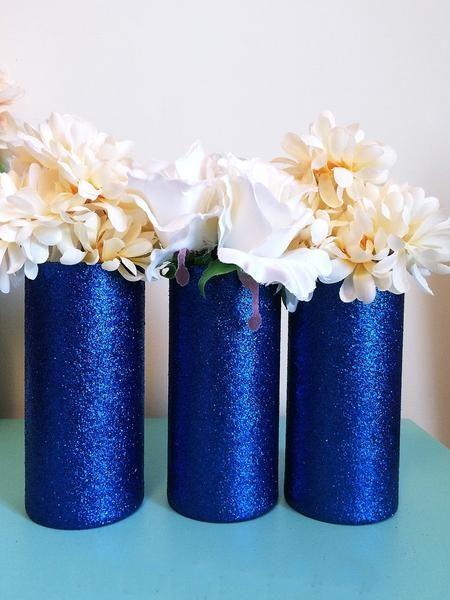3 Royal Blue Glitter Glass Cylinder Vases, Wedding Centerpieces, Royal – EverydayDesignsAndEvents