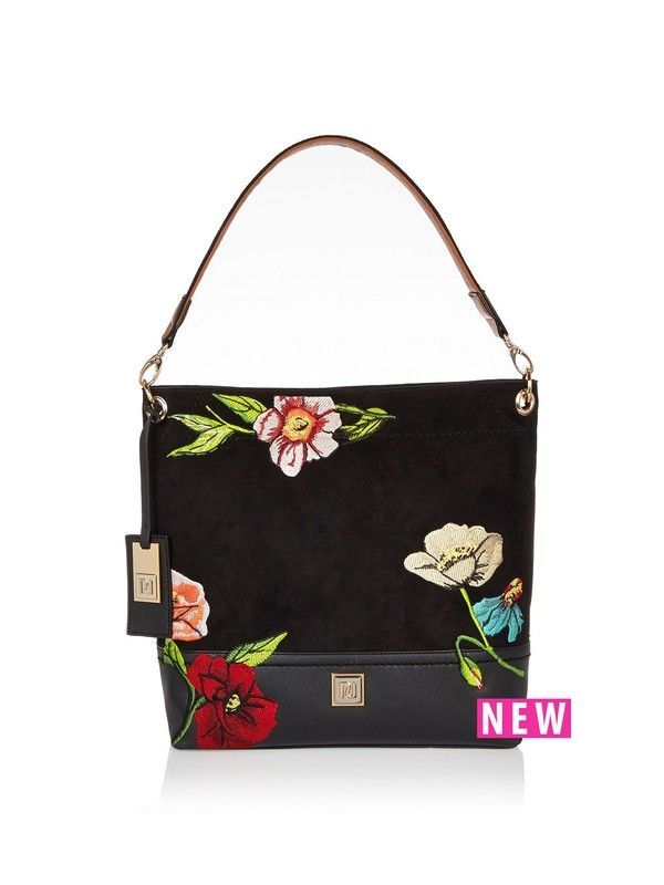 River Island Embroidered Shoulder Bag Its  all  about embroidery in AW16! This shoulder bag by River Island is the case in point! Its faux suede fabric and intricate stitching works a little luxury into your essentials edit, while the slouch silhouette and shoulder strap are a subtle nod to the runway's ongoing romance with all things boho. We think it works best with a floaty frock and heeled boots. When things turn chilly, just add a faux fur coat to complete your look. Material Content…