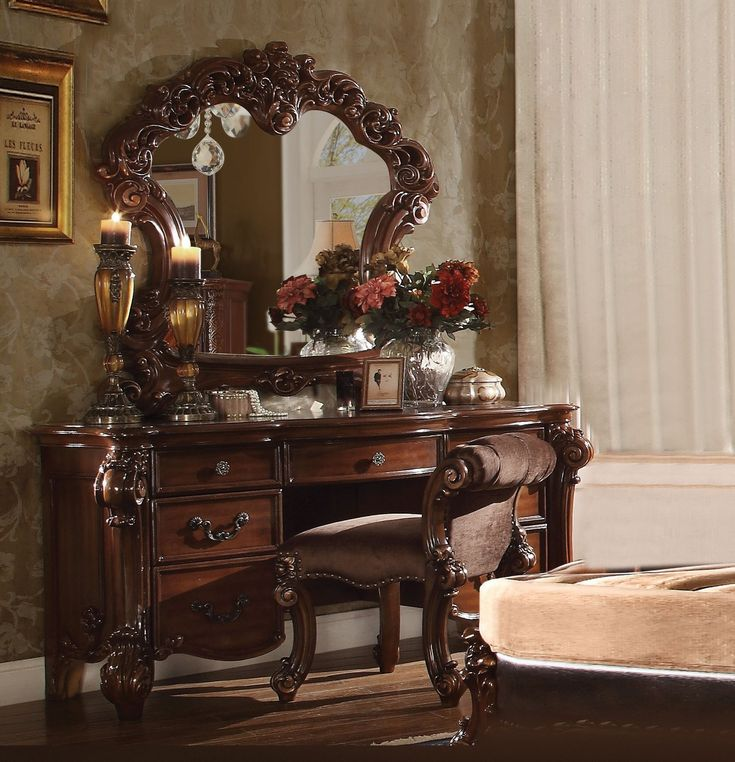 Vanity Table Shop   Clermont Cherry Makeup Dressing Table Set, $2,478.60  (https:/