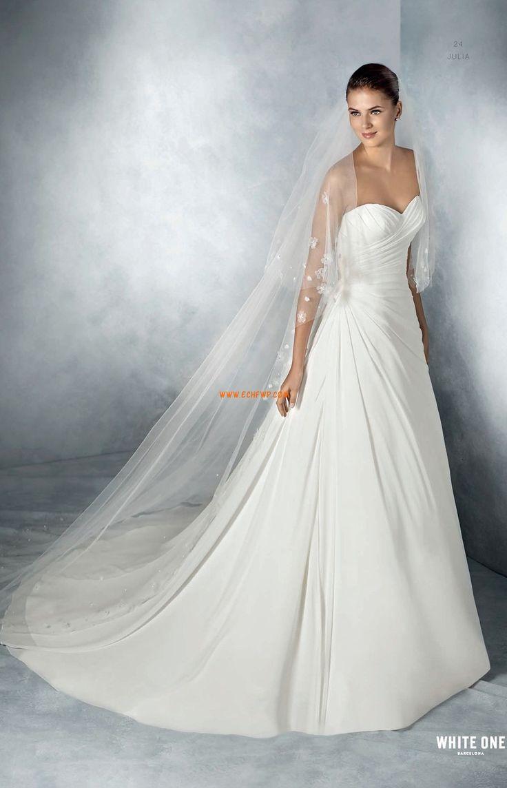 Satén Podzim Nabírání Levné svatební šaty