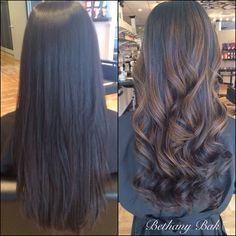 straight black hair with brown highlights , Google Search · Dark Hair Sweep Balayage