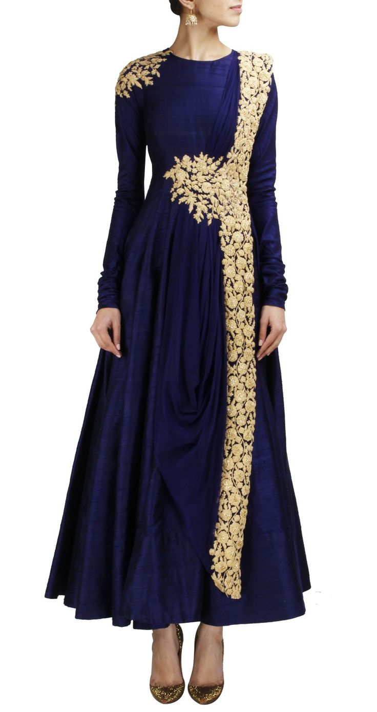 Ridhi mehra navy blue anarkali with gold embroidery www for Long sleeve indian wedding dresses