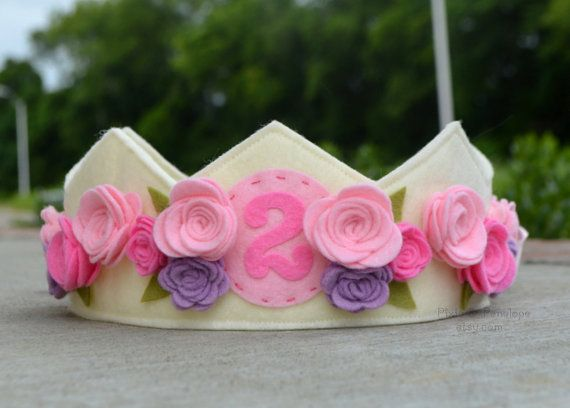 Small Felt Crown Birthday Crown Roses Pink by pixieandpenelope, $30.00