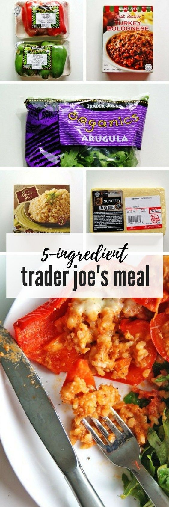Easy Trader Joes Recipe: Turkey Stuffed Peppers. Click here for this 6-ingredient dinner! #traderjoes #traderjoesrecipe #easydinner #dinnerrecipe