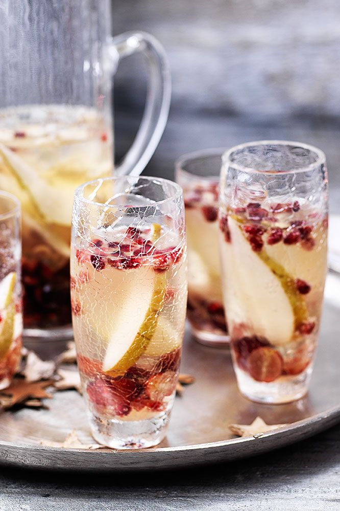 Prepare a batch of this pear, grape and pomegranate fizz to impress you New Year's Eve party guests. | Tesco