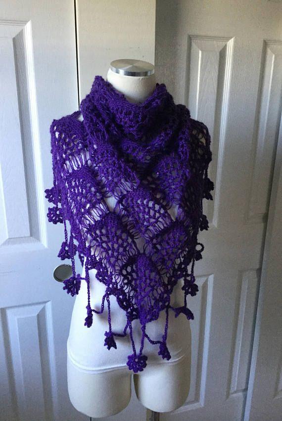 Christmas gift hand made gift purple crochet wedding shawl