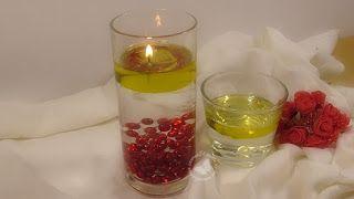El rincón de las manualidades caseras.: Velas de aceite y agua
