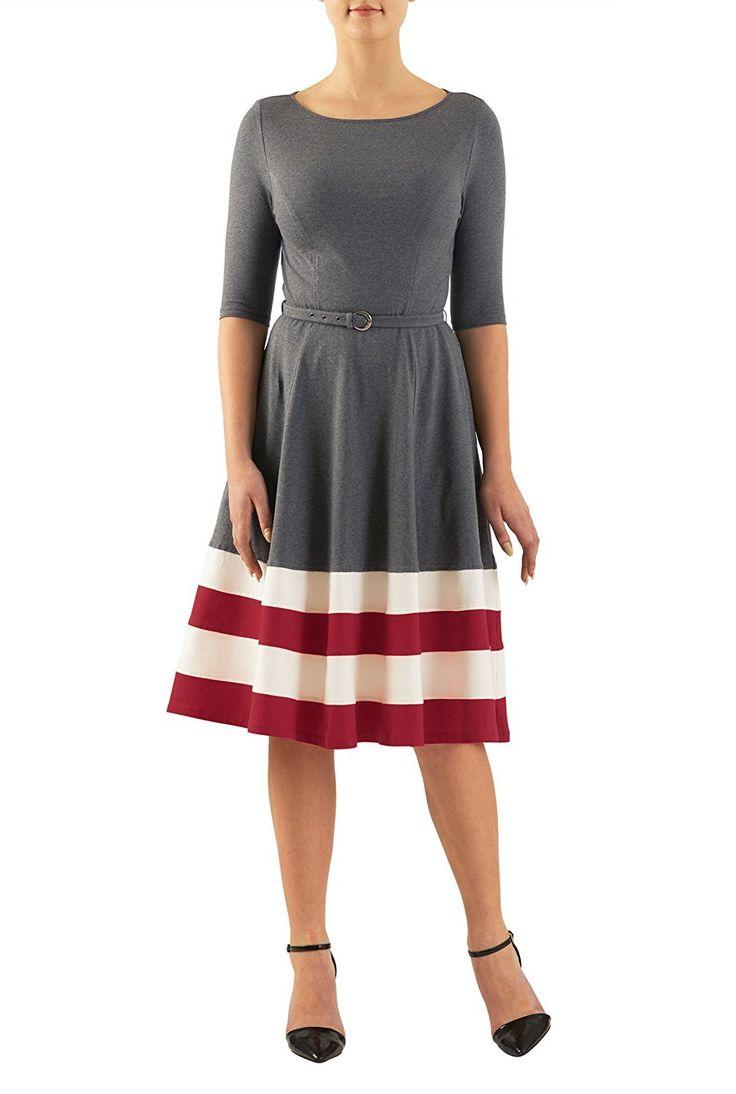 eShakti Women's Contrast stripe hem belted cotton knit dress,CL0047881