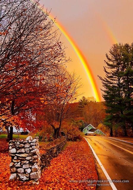 October Road | An Autumn Double Rainbow in Quechee, Vermont