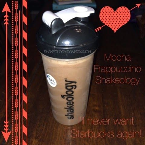 Mocha Frappuccino Shakeology - 1 cup coffee (brewed & chilled); 1 cup vanilla almond milk; tsp vanilla extract, 1 scoop chocolate or vanilla shakeology; ice!
