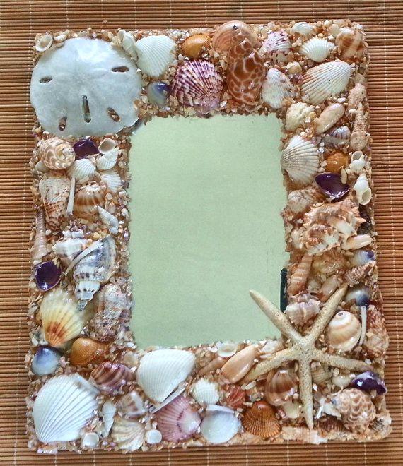 seashell mirror nautical mirror beach decor shell by beachbasket