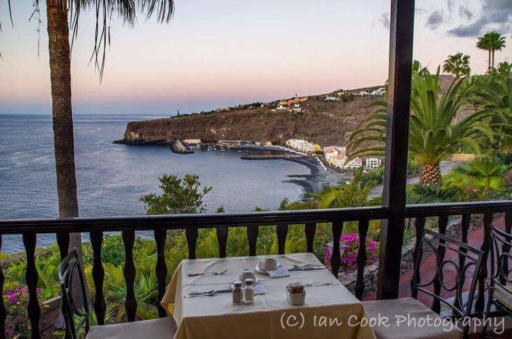 Restaurant terrace, Hotel Jardin Tecina, Playa de Santiago, Gomera, Canary Islands, Spain. Taken just before sunrise