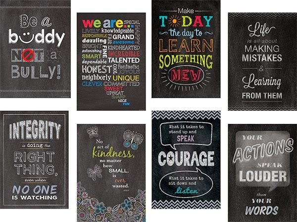 Love these chalboard style inspirational posters. Would make cool bulletin boards or posters.