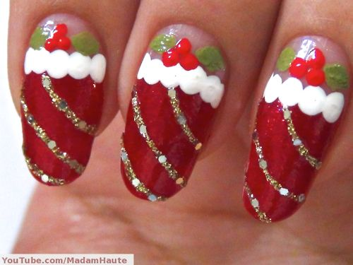 132 best nail polish images on pinterest nail scissors cute nails funny cute christmas socks nail art design idea with red and white colors and gold glitter ornament and cherries for kids nail art thumbnail version solutioingenieria Images