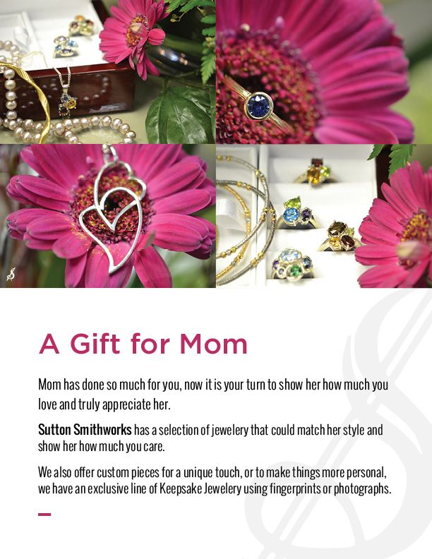 #mothersday #gifts available here at #suttonsmithworks #downtownwinnipeg! We have a wide selection of jewelry that will cater to your mom's personal style. Contact us now to inquire about our #keepsakejewelry line which make the perfect gift for #mom!