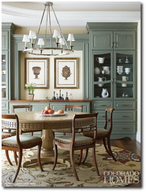 French Country Style in Colorado Home - I love the green with the milk glass.