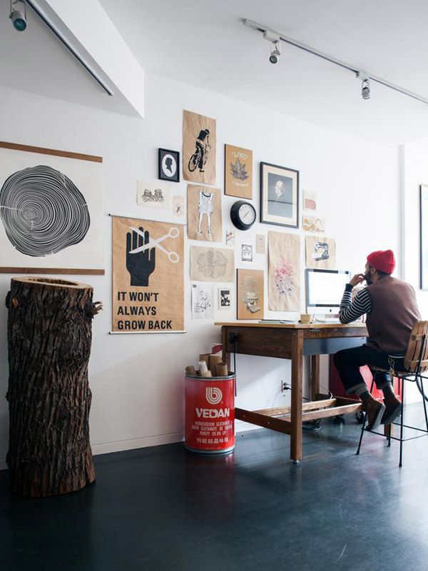 inspiration wall and high desk brooklyn loft