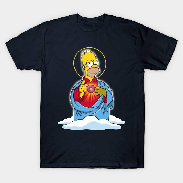 Homer is holding the Holy Donut! Grab one of this beautiful shirts here: http://bestofsimpson.com/holy-donut