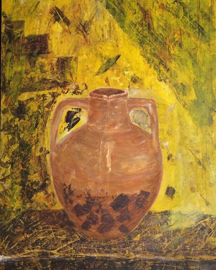 """Krukke""med vild ABSTRACT baggrund"" H: 75 cm B: 59 cm  Copyright by www.anne-mette.com  #maleri #modernpainting #krukke #walldecor #vægdekoration #gul #yellow #bigjar #danishartist #danishart #danishpainting #silverframe #copyright #artgallery #directsale #artworks_artist #artistoninstagram #artoftheday #arts #kunstforening #udstiller #exhibition #exhibits #email #kunst@anne-mette.com"