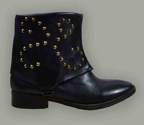 ANKLE BOOT - MADE IN ITALY, LEATHER AND STUDS, VINTAGE TREATMENT, CHARCOAL