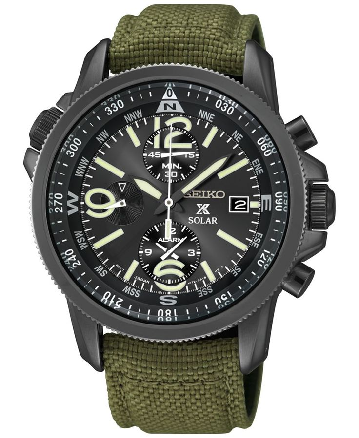 Seiko Men's Prospex Solar Alarm Chronograph Green Nylon Strap Watch 42mm SSC295