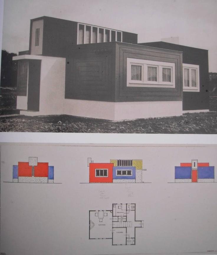 J. J. P. Oud, maison du chef de chantier lors de la construction de la cité Oud-Mathenesse à Rotterdam, 1923. Photographie et dessin en plan et en élévations