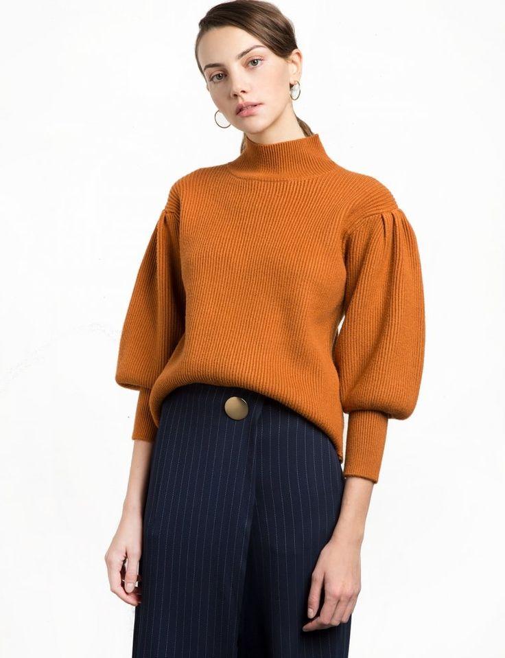 Rust Balloon Sleeve Sweater, $78