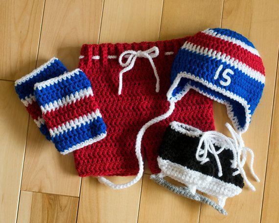 HOCKEY BABY Grandmabilt Crochet Red Royal Blue by Grandmabilt