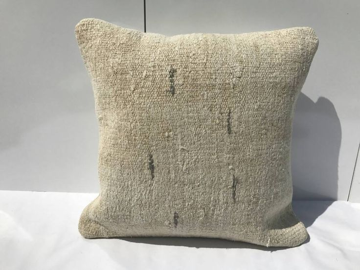 CREAM HEMP PİLLOW, Living Room Decoration Wool Cushion Cover, Turkish Bedroom Pillow covers,Sofa Pillow, 16x16 inches by Simavrug on Etsy