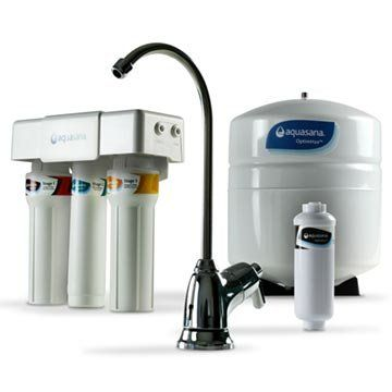 "Aquasana Under Counter Reverse Osmosis Water Filter - AQ-RO3 | Pure Living Space | Aquasana offers a 4 stage Reverse Osmosis system that carries NSF 42, 53, and 58 certifications and removes a total of 74 contaminants. Aquasana uses their ""Claryum"" filtration technology to remove chlorine and chloramines, VOC's including TTHM's, lead, mercury, MTBE; and the RO filter to remove arsenic, fluoride, nitrate and nitrite, radium 226/228, and the other ""RO only"" contaminants."