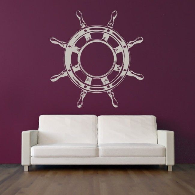 Nautical Wall Stickers Part - 16: Ship Steering Wheel Wall Sticker Nautical Wall Art