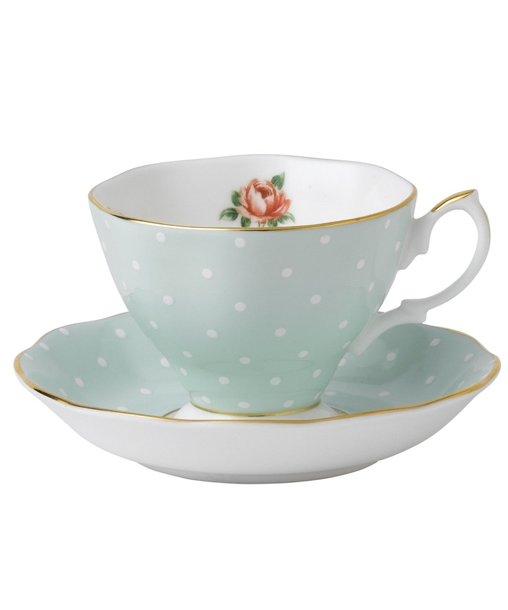 Royal Albert Polka Rose.  Waterford Wedgwood Royal Doulton, Tanger Outlets, San Marcos, TX  1-800-203-4540