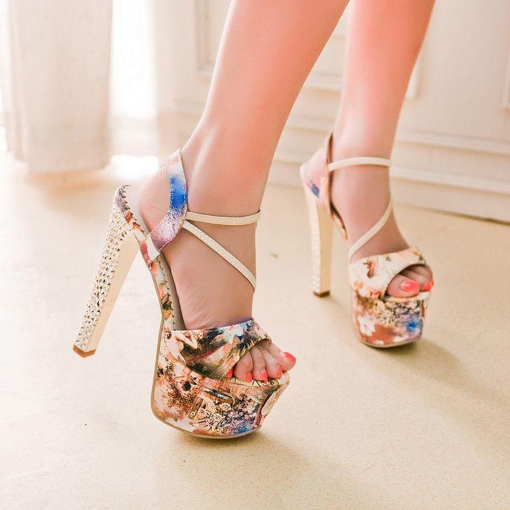 Высокие сандалии пятки 16 см Платформа сандалии клуб сексуальная толстый каблук высокого качества цветка печати женская обувь летние сандалии купить на AliExpress