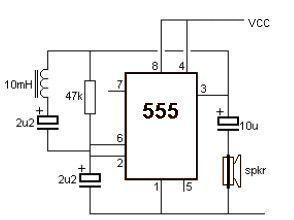 Simple Metal Detector Using 555 Timer Circuit Diagram