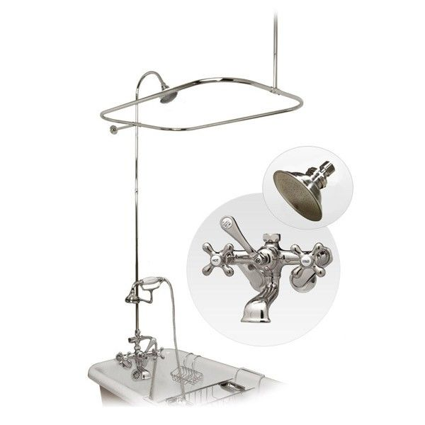 Randolph Morris Clawfoot Tub Wall Mount Shower Enclousure with Shower Ring and Handheld Shower